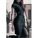 Womens Cool Streetwear Black Plain Single Breasted Short Sleeve Midi Bodycon Uniform Dress