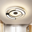 Modern Circular Flush Light Metal and Acrylic Black and White Led Surface Mount Ceiling Lights for Living Room, 16