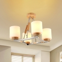 4/6 Heads Cylinder/Trapezoid Chandelier with Star Metal Frame Modern Style Milk Glass Pendant Lamp in Wood