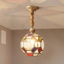 Multi-Color Glass Brass Finish Pendant Faceted Disco Ball 1 Bulb Colonial Ceiling Lamp