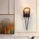 1 Light Dining Room Wall Mounted Lamp Vintage Black Sconce Light with Funnel Amber Glass Shade