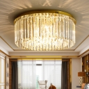Round Crystal Ceiling Lamp Contemporary 6-Light Dining Room Flush Mount Light in Gold