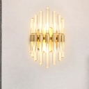 Clear Crystal Tubular Wall Sconce Contemporary 2 Bulbs Gold Finish Wall Mount Light for Living Room
