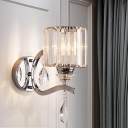 Modern Cylinder Sconce Light Fixture Rectangle-Cut Crystal 1 Light Bedroom Wall Light with Chrome Arm and Backplate