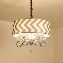Beige Drum Chandelier Light Traditional Fabric 5 Head Bedroom Hanging Ceiling Light with Crystal Drop