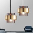 Gold Cylinder Pendant Light Fixture Modern 1 Light Smoke Gray Glass Hanging Light