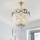 Vintage Chain Chandelier Lighting Metal Shade Triple Light Foyer Pendant Lamp in Gold