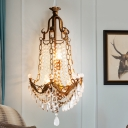 Beaded Sconce Light Fixture with Clear Crystal Decoration Vintage 3 Lights Wall Lighting Fixture in Antique Brass