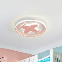 Airplane/Horse/Fish Ceiling Flush Light Cartoon Metallic Led Flushmount Lighting in Blue/Pink