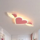 LED White/Pink Heart Close to Ceiling Lamp Kids Metal Flush Ceiling Light in Warm/White Light