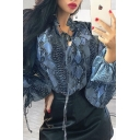 Blouson Frill Tie Sleeve V-Neck Blue Patterned Loose Blouse Top for Edgy Girls