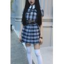 Girls' Cute Black Plaid Printed Eyelet Buckle High Waisted Pleated Short A-Line Skirt