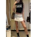 Fancy Cute White Mid Waist Zip Side Pleated Mini  A-Line Skirt for Girls