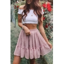 Cute Ladies' Elasticated-Waist Polka Dot Print Stringy Selvedge Double Layer Flared Pleated Short Flowy Skirt in Pink