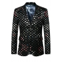 Mens Cool Gold Shiny Plaid Pattern Long Sleeve Button-Up Black Suit Blazer for Club