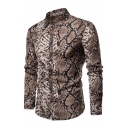 Mens New Stylish Snakeskin Pattern Long Sleeve Button Up Fitted Party Shirt