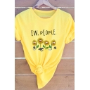 Lovely Sunflower Letter EW PEOPLE Printed Short Sleeve Casual Graphic T-Shirt