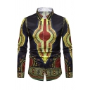 African Fashion Tribal Pattern Long Sleeves Single Breasted Slim-Fit Retro Shirt