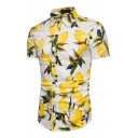 Mens Simple Lemon and Leaf Printed Short Sleeve Button Down Slim Fit Summer Shirt