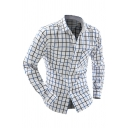 Trendy Colorblocked Grid Pattern Long Sleeve Button Down Slim Fit Casual Shirt for Men