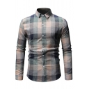Simple Plaid Pattern Turndown Collar Long Sleeve Single Breasted Slim Fitted Casual Shirt