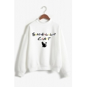 Unique Letter SMELLY CAT Printed Long Sleeve Mock Neck Casual Graphic Pullover Sweatshirt