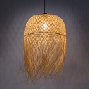 1 Light Woven Pendant Lamp with Dome Shade Bamboo Asian Hanging Ceiling Light for Restaurant