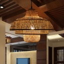 Bamboo Woven Pendant Light with Adjustable Cord 1 Light Tiered Chinese Style Hanging Ceiling Light