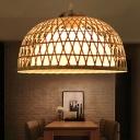 Asian Pendant Lighting Handmade Height Adjustable 1 Light Bamboo Beige Suspension Light