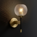 Lattice Glass Wall Mount Lamp with Dome Shade Mid-Century 1 Light Flush Mount Wall Sconce in Brass for Corridor