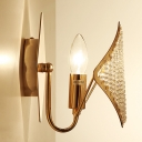 1 Bulb Rhombus Wall Lighting with Crystal Bead Contemporary Bedside Sconce Light in Brass