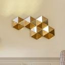 Hexagon Living Room Wall Lamp Colonialism Metal LED Gold Flush Mount Wall Sconce in Warm/White Light, 20.5