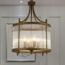 Black Round Mesh Chandelier Light Chinese Style 4 Lights Crystal Corridor Hanging Lamp