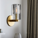 Faceted Wall Lighting Minimalist Clear Crystal 1 Light Sconce Light Fixture with Gold Brass Arm