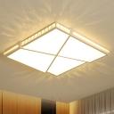 LED Flush Mount Light Minimalist K9 Crystal White Ceiling Light with Rectangle/Square Acrylic Shade