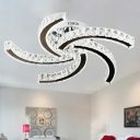 LED Semi Flush Light Simple Windmill Crystal Semi Flush Mount in Chrome for Bedroom, Warm/White/3 Color Light