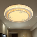 LED Round Flush Mount Lamp Modern White Crystal Ceiling Mounted Fixture for Bedroom with Petal Pattern