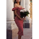 Ladies Vintage Classic Polka Dot Printed Off the Shoulder Bodycon Midi Bardot Dress