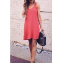 Red Casual Female Sleeveless V-Neck Open Back Chiffon Mini Swing Tank Dress