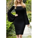 Black Fancy Bell Sleeve Off The Shoulder Cotton Mid Tight Evening Dress for Ladies