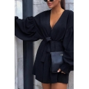 Unique Street Girls' Blouson Sleeve Surplice Neck Bow Tie Waist Ruffled Trim Mini Wrap A-Line Dress in Black