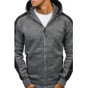 Mens Stylish Striped Long Sleeve Zip Placket Slim Fit Cotton Blends Leisure Hoodie
