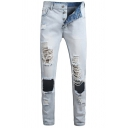 Street Style Creative Button Placket Broken Holes Ripped Light Blue Wash Faded Jeans