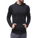 Mens Unique Pleated Detail Long Sleeve Pouch Pocket Slim Fit Solid Color Drawstring Hoodie