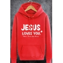 Mens Simple JESUS LOVES YOU Letter Printed Long Sleeve Pouch Pocket Drawstring Hoodie