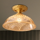 Colonial Bowl Ceiling Light Fixture 1 Bulb Amber Glass Flush Mount Lighting in Brass for Living Room