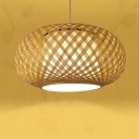 Bamboo Oval Hanging Lighting with Inner White Plastic Shade Handmade 1 Light Asian Pendant Lamp in Natural Wood