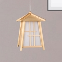 Wooden House Pendant Lighting Country Style 1 Head Mini Suspension Lamp for Dining Table