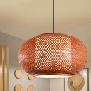 Lantern Pendant Light Fixture Asian Single Head Woven Rattan Suspended Light in Brown, 16