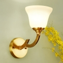 Milky Glass Flared Wall Light Traditional Style 1 Head Living Room Wall Sconce Fixture in Gold